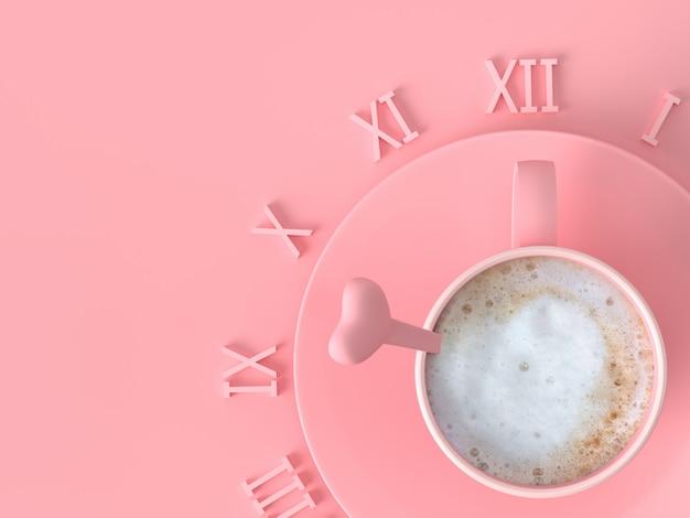 Tazza di caffè latte rosa creativa per tempo