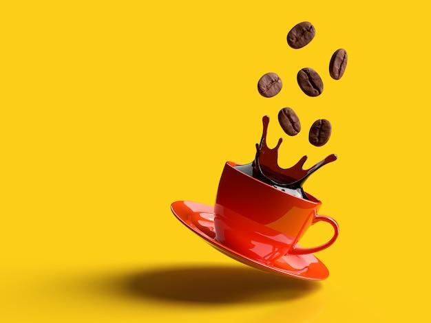 Tazza di caffè nero e chicchi di caffè su fondo rosso