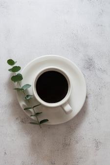 Tazza di caffè, ramo di eucalipto. vista dall'alto