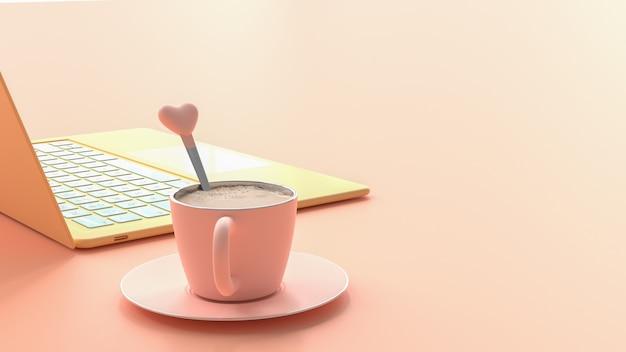 Tazza di caffè rosa accanto al computer portatile colore giallo sul tavolo da lavoro
