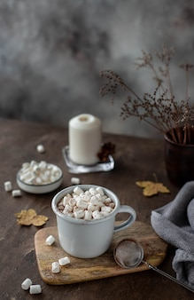 Tazza di cioccolata calda con marshmallow.