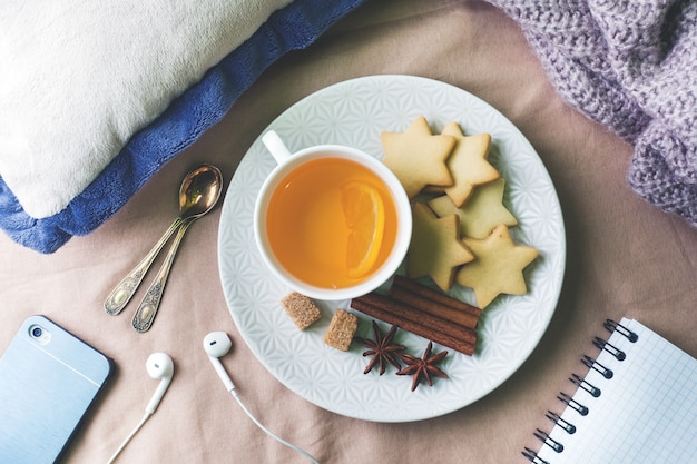 Tazza di tè al limone e biscotti, miele e bastoncini di cannella, anice stellato sulla coperta