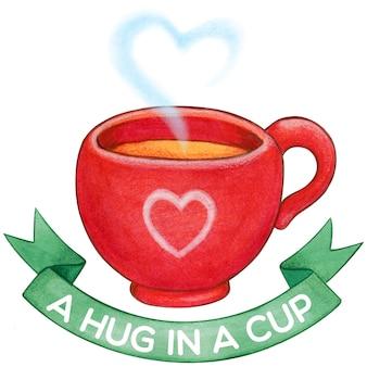 Tazza di tè rossa carina con fiocco verde e cuore a vapore