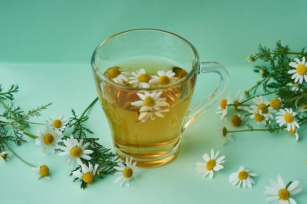Tazza di vetro di tisana naturale, con fiori di camomilla sul verde