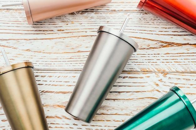 Tazza in acciaio inox e bicchiere