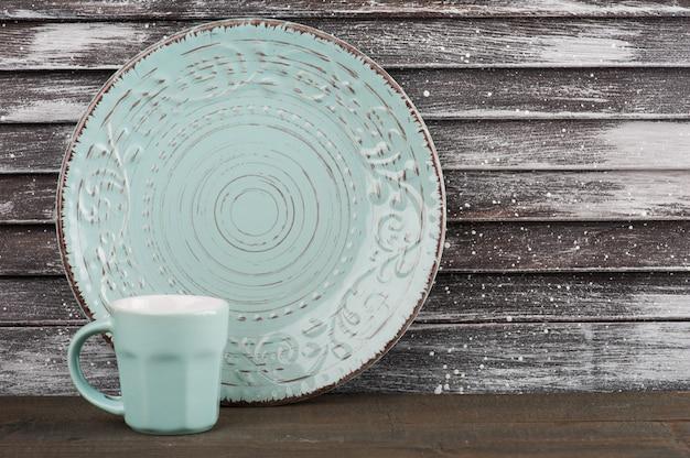 Tazza in porcellana vintage blu, piatto