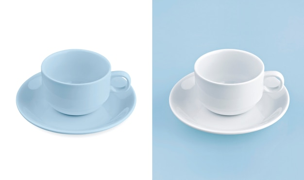 Tazza su sfondo bianco e blu