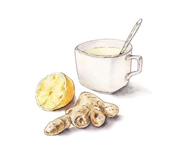 Tè al limone allo zenzero nell'illustrazione bianca della tazza