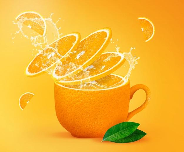 Tè arancione che spruzza concetto creativo per poster, flyer, banner