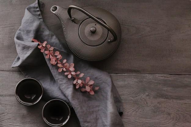Tè autunnale in stile minimalista. stagione autunnale. tempo d'autunno