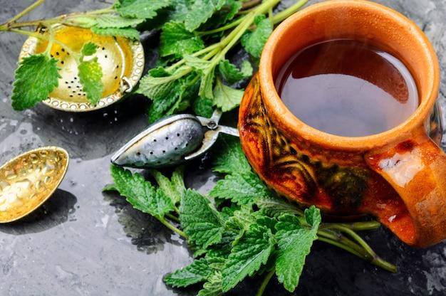 Tè con foglie verdi fresche di melissa