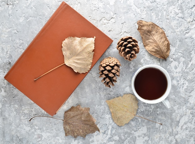 Tè durante la lettura di un libro. tè, un libro, foglie cadute, dossi su un tavolo di cemento. atmosfera autunnale invernale per la lettura di una nuova storia. vista dall'alto. disteso.