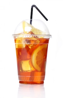 Tè freddo fresco in vetro plastica