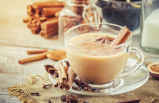Tè masala messa a fuoco selettiva cibo e bevande.