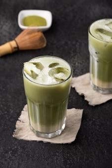 Tè verde ghiaccio cibo latte
