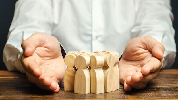 Team insurance concept. gestione delle risorse umane. assunzione del personale.