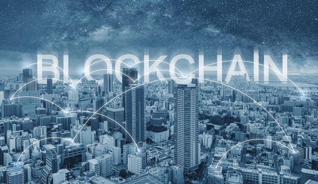 Tecnologia blockchain, collegamento di paesaggio urbano e connessioni