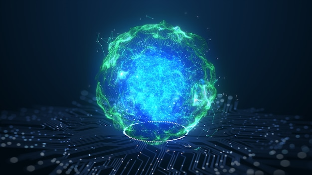 Tecnologia concetto di dati digitali di animazione del cervello di intelligenza artificiale (ai).