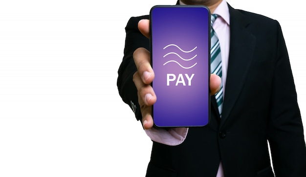 Tecnologia di blockchain della moneta di libra dello smartphone di manifestazione dell'uomo d'affari