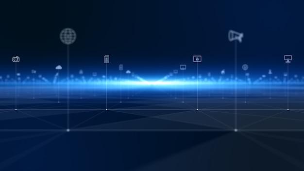Tecnologia di connessione dati digitali e protezione della rete dati digitale. futuro concetto di rete tecnologica.