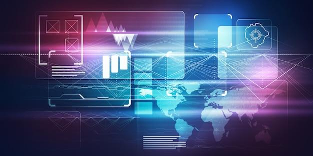 Tecnologia di immagine digitale concetto di interfaccia hud con microchip a circuito nella realtà virtuale
