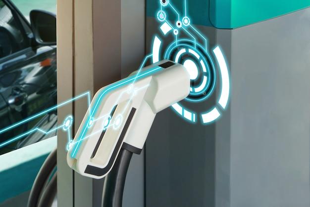 Tecnologia ev con caricabatterie per auto ibrida elettrica.