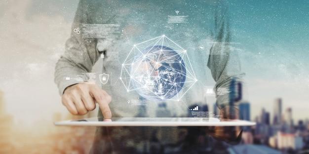 Tecnologia intelligente e rete globale. elemento di questa immagine è fornito dalla nasa
