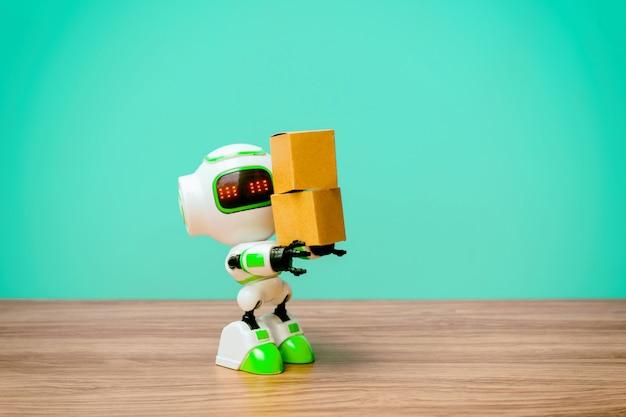 Tecnologia robot che tiene l'industria della scatola o dei robot che lavorano al posto degli umani