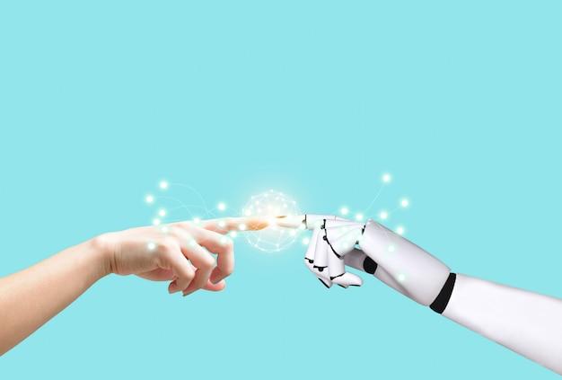 Tecnologia robot di intelligenza artificiale mani umane e mani robot