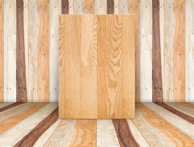 Tela di legno bianca nella stanza della plancia di legno, modello mock up per l'aggiunta di contenuti o design