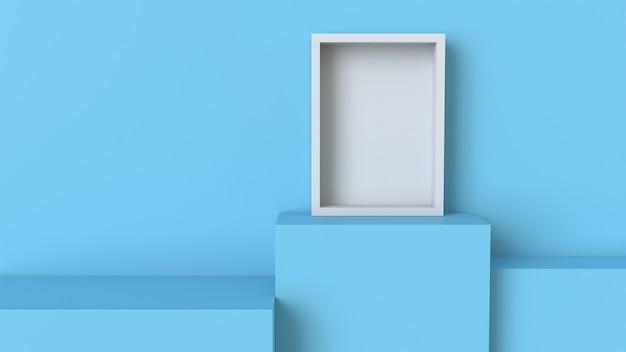 Telaio con podio cubo blu pastello su sfondo muro bianco