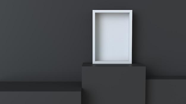 Telaio con podio cubo nero su sfondo muro bianco