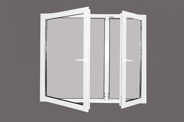 Telaio della finestra con sfondo grigio