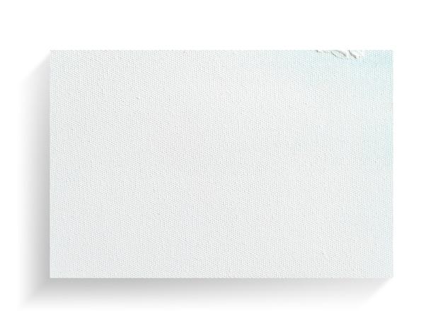 Telaio di tela bianca su sfondo bianco.