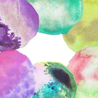 Telaio realizzato con sfondo macchia acquerello colorato
