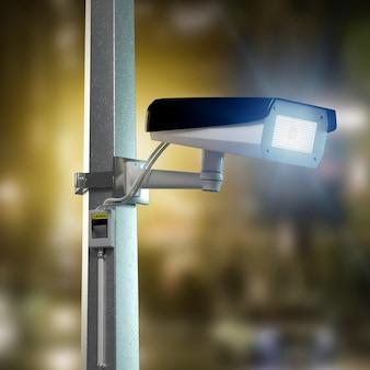 Telecamera cctv di sicurezza stradale che filma una città notturna -
