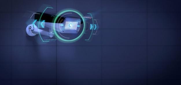 Telecamera di sicurezza che punta a un'intrusione rilevata, rendering 3d