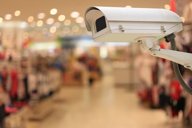 Telecamere cctv nei centri commerciali e spazio per copiare.