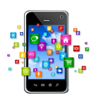 Telefono cellulare e icone di app volanti