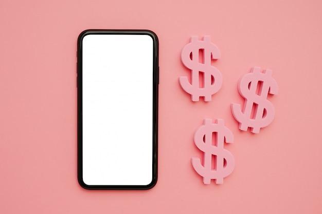 Telefono cellulare e simbolo del dollaro americano, denaro e tecnologia flatlay