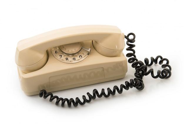 Telefono obsoleto su bianco