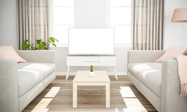 Televisione bianca su interni minimal scandinavi