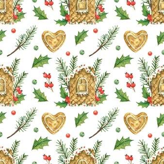 Tema natalizio con casa di marzapane, biscotti a forma di cuore