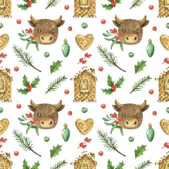 Tema natalizio con mucca e pan di zenzero