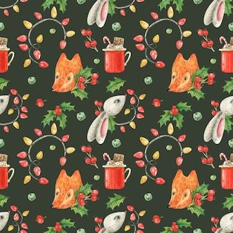 Tema natalizio con volpe e coniglio