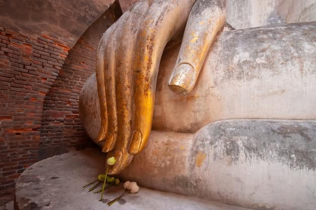 Tempio antico di chum di si di statua della statua di buddha (albero di phra achana wat si), parco storico di sukhothai, tailandia