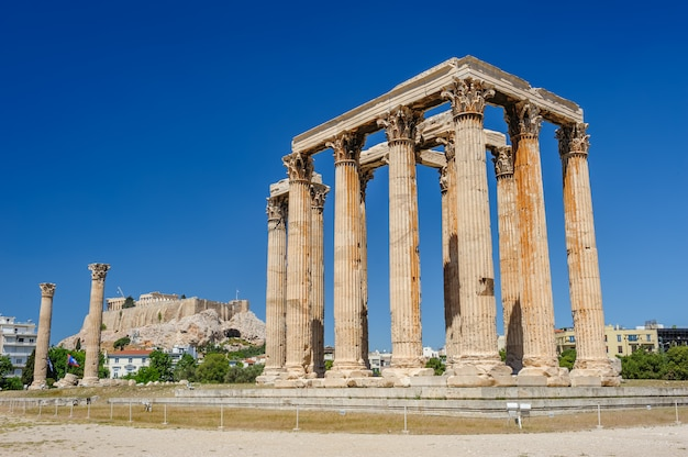Tempio di zeus, olympeion, atene, grecia