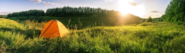 Tenda arancio nel campo contro fondo della foresta