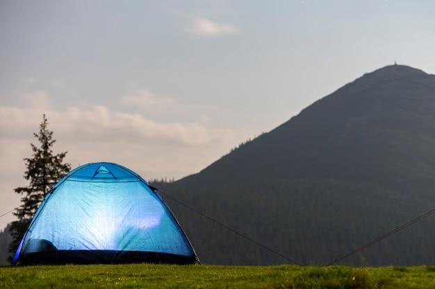 Tenda blu brillante sulla radura della foresta erbosa