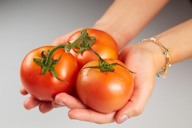 Tenendo i pomodori isolati su uno sfondo grigio chiaro
